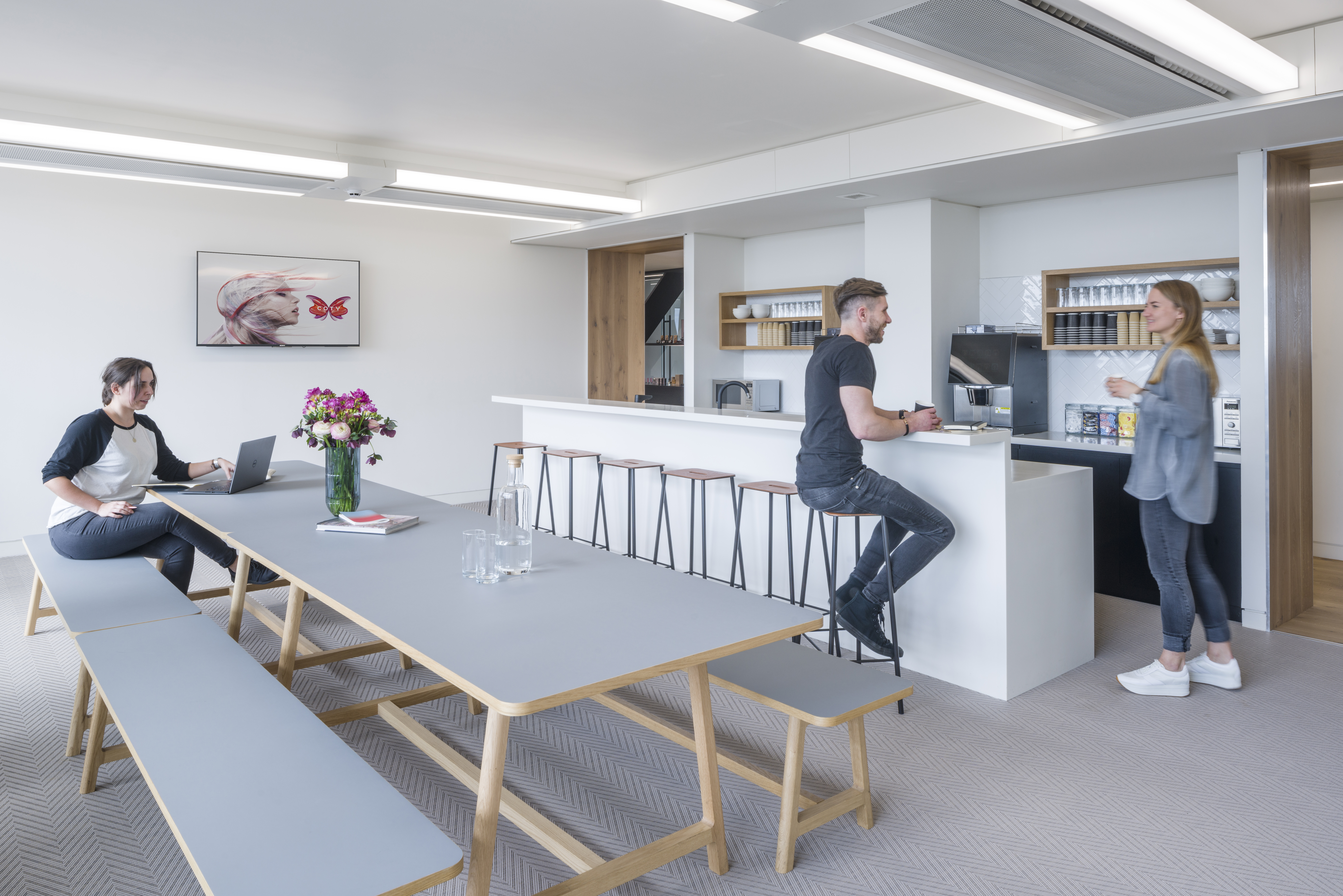 Central workplace for COTY London by Unispace, fashion and beauty workplace