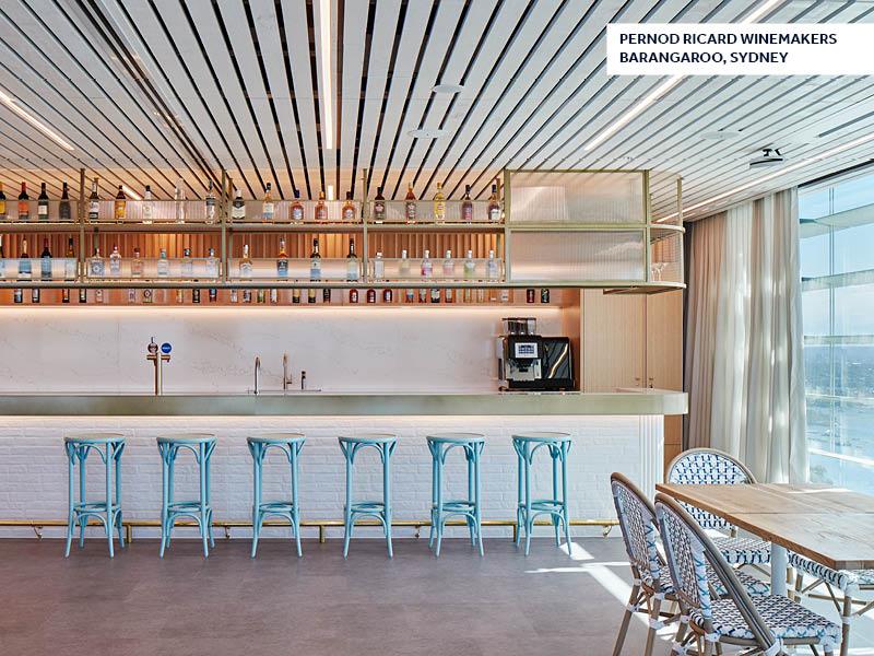 Pernod Ricard Winemakers, Unispace, office bar, workplace bar, workplace design, office design