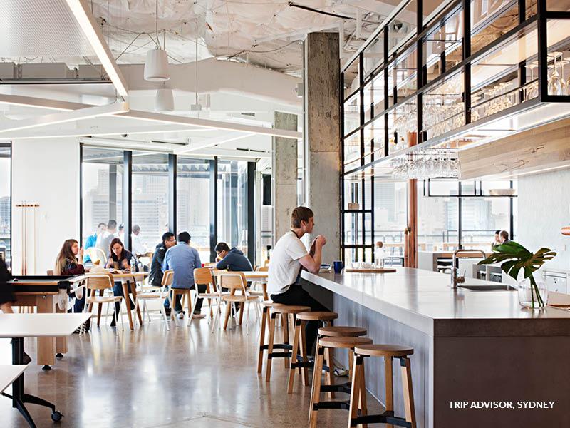 Unispace, trip advisor, office design, workplace design, workplace bar, office bar
